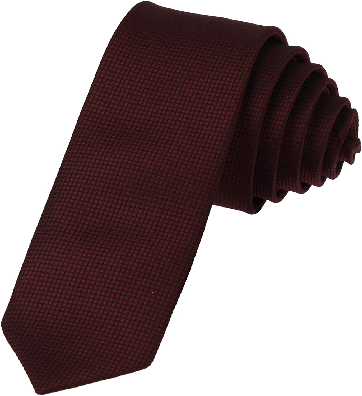 Dan Smith Men's Fashion Checker Microfiber Tie Matching Skinny Necktie With Box