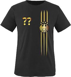 Comedy Shirts Kinder Fußball T-Shirt bedruckbar - Wunschname & Nummer - WM/EM/Deutschland - Rundhals Tshirt für Mädchen & Jungen in Schwarz - Deutschland Trikot in div. Größen