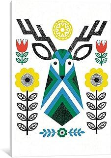 "iCanvasART WAC3902 Folk Lodge (Deer III) Gallery Wrapped Canvas Art Print by Michael Mullan, 18"" x 1.5"" x 12"""