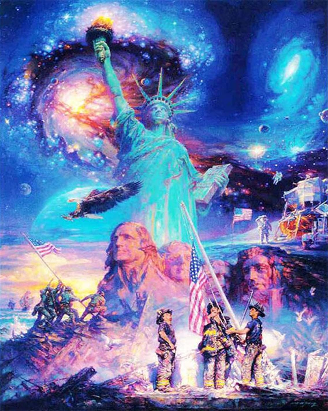 CaptainCrafts Diy 5D Diamond Painting by Number Kits Full Drill Diamond Painting - Starry Sky Statue Of Liberty Sculpture (20X25cm/8X10inch)