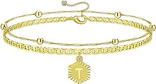 SAILIMUE 14K الذهب مطلي بالحرف الأولي أساور للنساء طبقات شخصية سوار الذهب سحر سلسلة سوار أنيق هدية للنساء