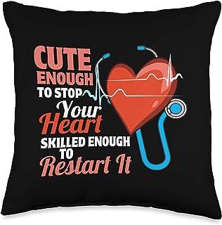 Funny Nursing Staff Fashion Wear Cute and Skilled Nurse - Heartbeat Magician Throw Pillow, 16x16, Multicolor