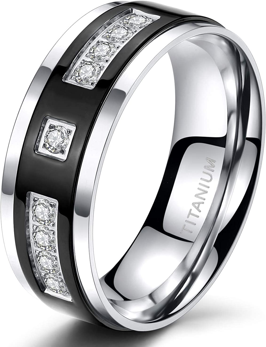 TIGRADE 6mm 8mm Black Titanium Eternity Ring Cubic Zirconia Wedding Band for Men Women