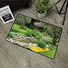 bathroom entry rugs Garden,Japanese Park Style Recreational View with Pond Grass Stones and Trees Landscape Print,Green,Low Profile Door Mat - Welcome - Front Door, Garage, Patio,35
