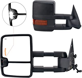 Perfit Zone Towing Mirror Replacement Fit for 1999-2002 Silverado Sierra 1500 2500 3500,Power Heated with Turn Signal, LED Arrow, Clearance Light(Pair Set)