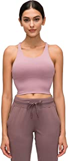 Estanla Womens Solid Color Sports Underwear Cross Backless Strappy Fitness Yoga Bra Vest