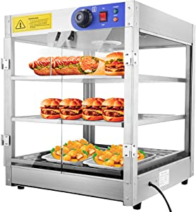 3-Tier Food Pastry Pizza Warmer Countertop Commercial Display Case See Through 750W Adjustable Removable Shelves Glass Door 20x20x24