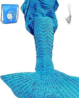 LAGHCAT Mermaid Tail Blanket Knit Crochet Mermaid Blanket for Adult, Oversized Sleeping Blanket, Wave Pattern (75 x 35.5 Inch, Peacock Blue)