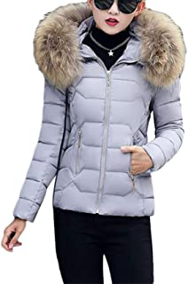 Dooxi Ladies Quilted Padded Winter Warm Short Slim Coat Women Faux Fur Hooded Jacket Outwear