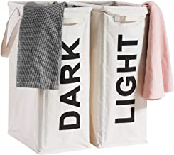 "ALINK 26"" Tall Slim Laundry Hamper Bag, 2Pcs/Set Lights and Darks Separator, Waterproof Large Thin Foldable Dirty Clothes ..."