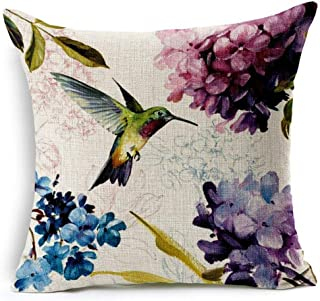 Beautiful Oil Painting Hummingbird and Hydrangea Ixora chinensis Cotton Linen Throw Pillow Case Cushion Cover Home Office ...