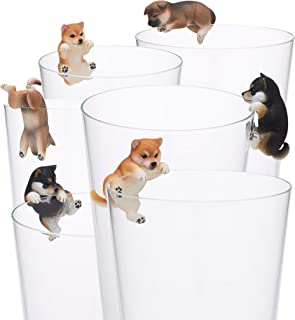 Kitan Club Putitto Shiba Inu Dog Cup Toy - Blind Box Includes 1 of 8 Collectable Figurines - Hangs on Thin, Flat Edges - Authentic Japanese Design - Made from Durable Plastic, Premium Quality