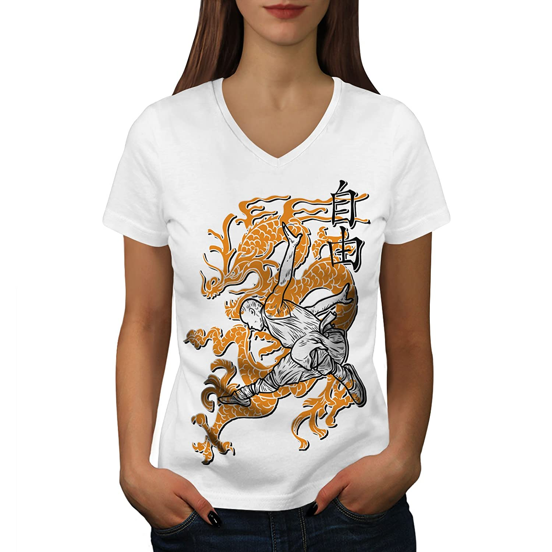 Wellcoda 仏教徒 モンク ファンタジー 婦人向け S-2XL リンガーTシャツ