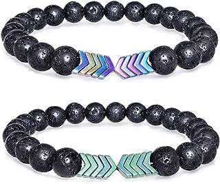Gleamart 2 Pcs Lava Rock Stone Bead Bracelet Arrow Essential Oil Diffuser Volcanic Stone Bracelet for Men Women