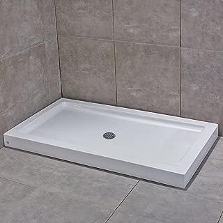 WoodbridgeBath SBR6032M Center Drain Reversible Acrylic Shower Base, 60