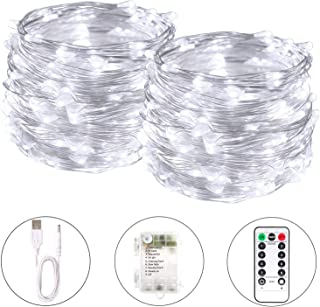 Blingstar Fairy Lights 2 Pack String Lights 33ft 100 LED USB and Battery Operated Christmas Lights Remote Control Timer 8 Modes Firefly Lights Cool White Fairy String Lights for Bedroom Wedding Decor