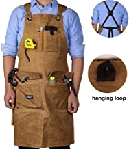 Wood Working Apron,16 OZ Waxed Canvas Tool Apron for Men & Women, Shop Apron with..
