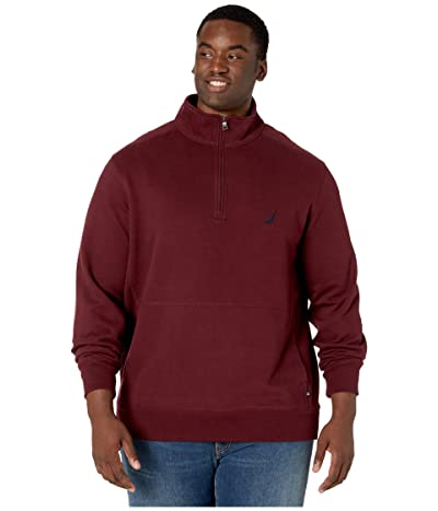 Nautica Big & Tall Big Tall Fleece Basic 1/4 Zip (Royal Burgundy) Men