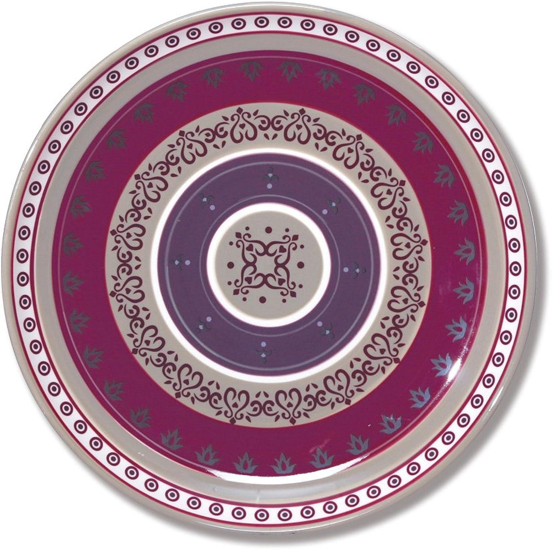 Bcouriro Evrard Assiette Plate en céramique décor Frise 28cm - Lot de 6 - Lelia