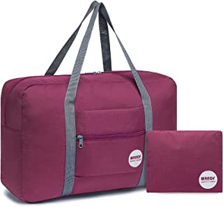 WANDF Foldable Travel Duffel Bag Luggage Sports Gym Water Resistant Nylon Red