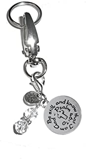 Hidden Hollow Beads Message Charm Key Chain Ring, Women's Purse or Necklace Charm, Comes in a Gift Box! (Be still and know that I am God)