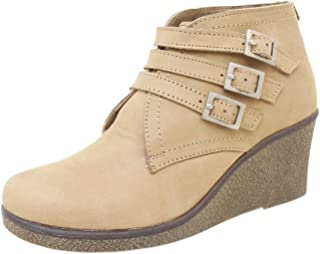 Athlego Women's Tan Synthetic high Ankle Boot Color