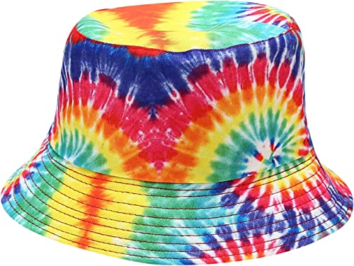 2021 Women Bucket Hat Tie Dye Printed, Unisex wholesale Print Fisherman Cap, Sun Protection Packable Bucket Hat for Summer Outdoor high quality Traveling online sale