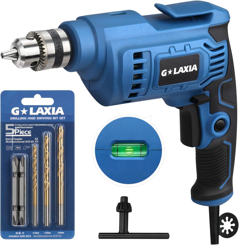 G LAXIA 510W Taladro Eléctrico, 0-3000RPM Velocidad Variable Taladro, Portabroca de 10mm, Función Horizontal, Botón de Bloqueo de Velocidad