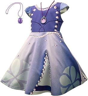 cheriy(シェリー) ソフィア 風 ワンピース ドレス キッズ 子供 プリンセスなりきり お姫様ドレス 転写プリント ディズニー プレゼント ペンダント 付き 2点セット 100㎝ 110㎝ 120㎝ 130㎝ 140㎝