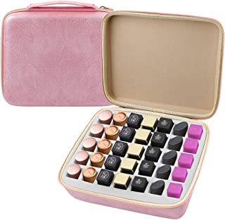 Lipstick Organizer Holder - Lipglosses 35 Slot Storage Case - Makeup Bag Containers for Standard and Oversized Liquid Lip Stick, Lip Glosses, Nail Polish & MORE (Case Only)- Pink