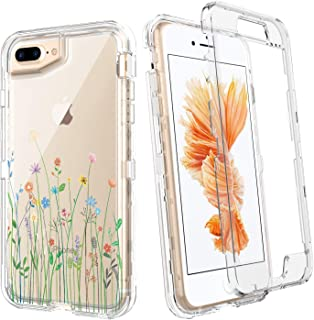 "BENTOBEN iPhone 8 Plus Case, iPhone 7 Plus/6s Plus/6 Plus 5.5"" Clear Case, Updated Cute Flower Pattern Design Heavy Duty Hybrid Hard PC Full Body Shockproof Protective Girls Women Phone Cover, Flowers"