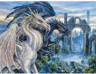 DIY 5D Diamond Painting by Number Kits, ELICE Diamond Painting Kits for Adults Full Drill Rhinestone Fashion White Dragon ...