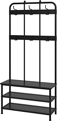 Ikea Finnby Coat Rack With Shoe Storage Bench Black 193 Cm 76 Amazon In Home Kitchen