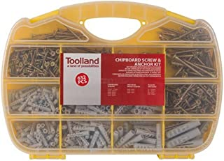 Toolland HAS14 Chipboard Screws and Dowels Set 632 Pieces