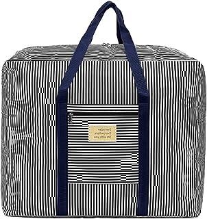 中性旅行行李袋轻便旅行行李袋收纳袋旅行手提袋旅行手提袋客厅活动包 Deep Blue Stripes 均码