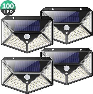 Kilponen Luz Solar Exterior 100 LED [4-Paquete 2200mAh Potente] Foco Solar Exterior Gran �ngulo 270° con Sensor de Movimiento, Luces Solares Impermeable y 3 Modos, Lámpara Solar para Jardín,Garaje