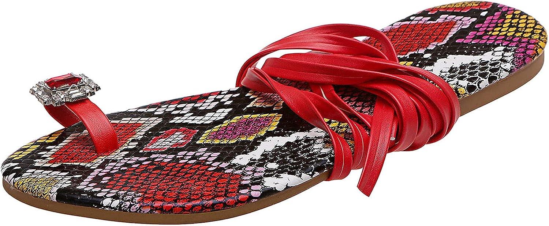 ZiSUGP Lace Up Ankle Strap Flat Sandals for Women Flip Flops Thong Sandals