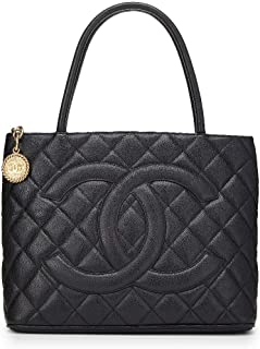 3044ee4f0e0d CHANEL Black Quilted Caviar Medallion Tote (Pre-Owned)