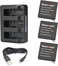 AZ16-1 Newmowa Replacement Battery (3-Pack) and 3-Channel USB Charger for Xiaomi YI AZ16-1 and Xiaomi Yi 4K,Yi 4K+,Yi Lite,YI 360 VR Action Camera(Not for Discovery Version)