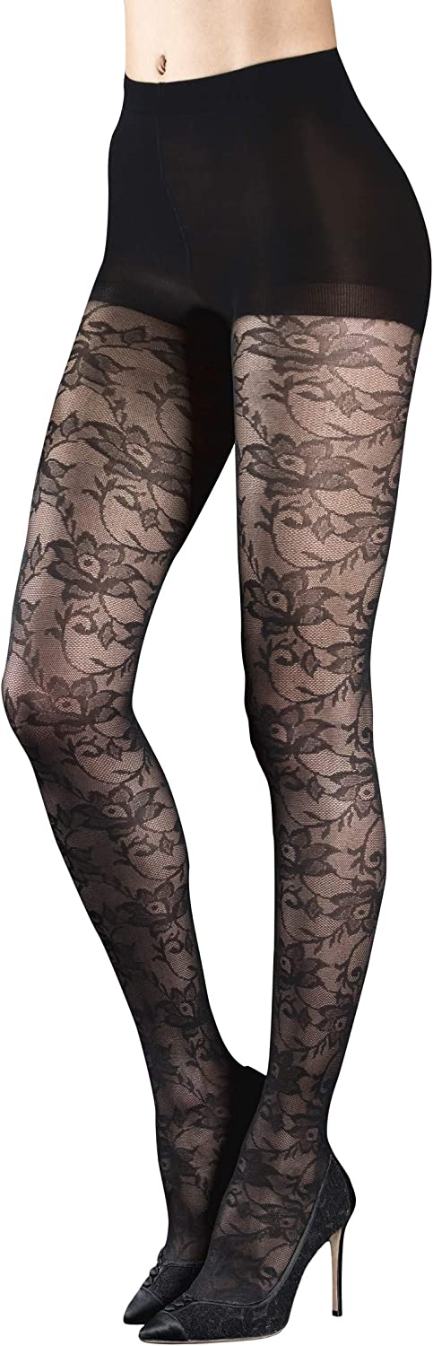 Badgley Mischka Luxury Fashion Micro Net Tights with Rose Lace Floral Pattern & Control Top, Black, Small