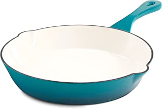 Crock Pot 111976.01 Artisan 8 Inch Enameled Cast Iron Round Skillet, Teal Ombre