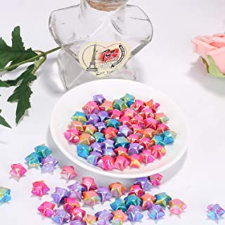 Sun Goodtimes 100pcs Origami Paper Lucky Wish Stars Finished Products for Kids, Friends, Lovers Handmade Gifts (Mixed Aurora Color)