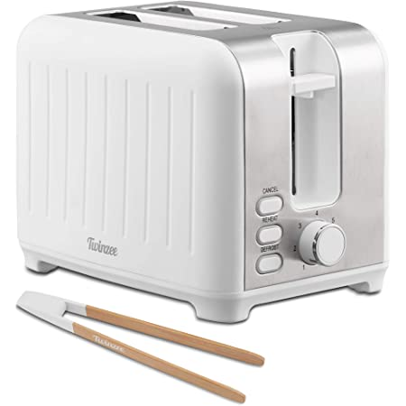 Twinzee - Grille Pain 3 en 1 - Blanc Mat en Inox - 2 Large Fente Toaster Vintage - Pince en Bambou Gratuite - 7 Niveaux de Brunissage - 850W - Chauffe Petit Pain et Ramasse Miette