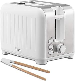 Twinzee - Grille Pain 3 en 1 - Blanc Mat en Inox - 2 Large Fente Toaster Vintage - Pince en Bambou Gratuite - 7 Niveaux de...