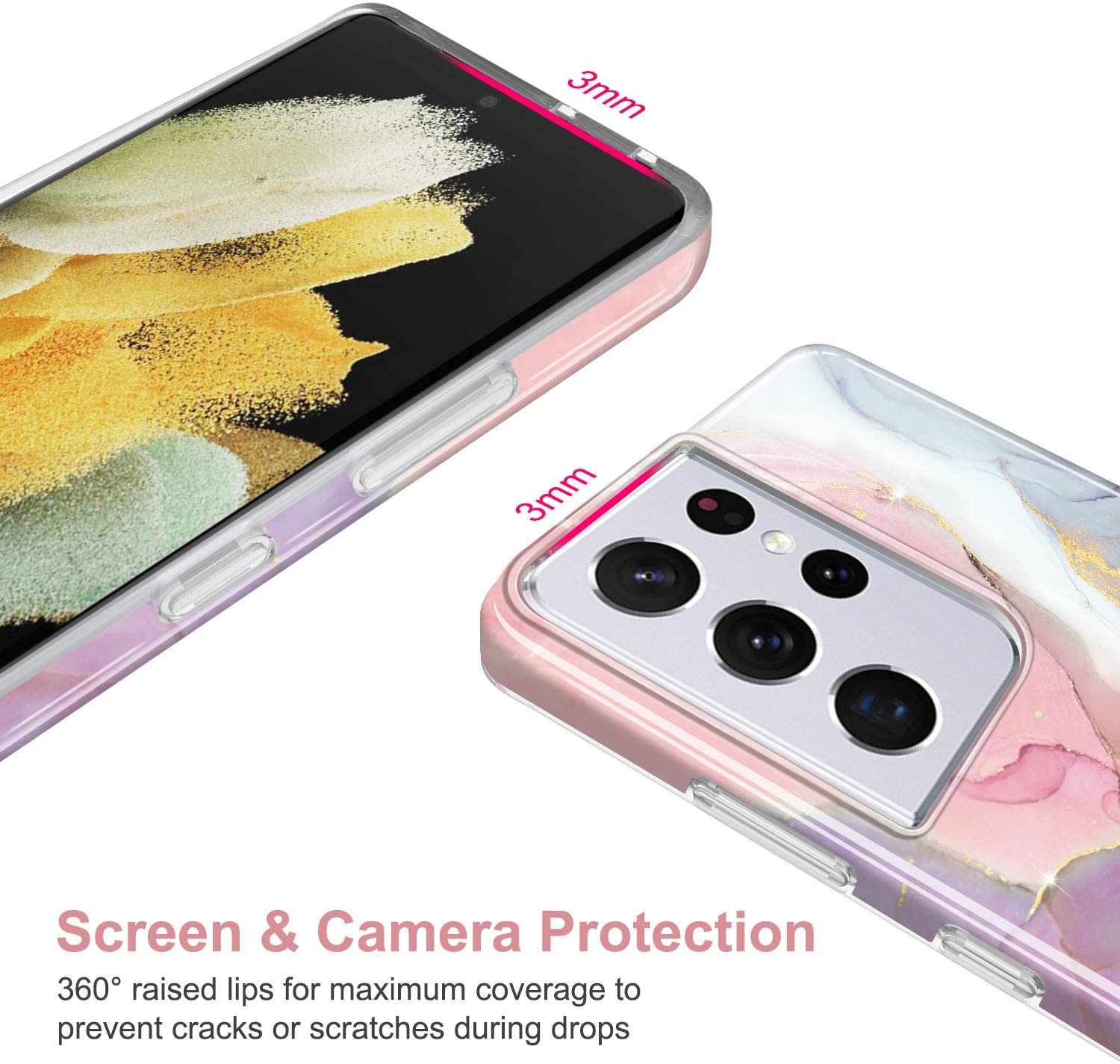 JIAXIUFEN Galaxy S21 Ultra Case Gold Sparkle Glitter Marble Slim Shockproof TPU Soft Rubber Silicone Cover Phone Case for Samsung Galaxy S21 Ultra 5G 6.8 inch 2021 Pink Purple