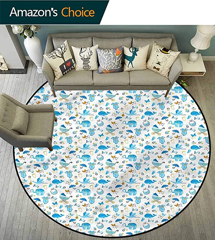 RUGSMAT Baby Small Round Rug Carpet Stork Carrying A Baby Lifts Basket Swivel Chair Pad Coffee Table Rug Round 31