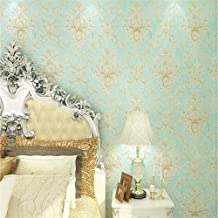 Papel Pintado Mural Foto3D Wallpaper Embossed Texture Glitter Baroque Damask Featured Vintage Blue Wall Covering Wall Paper Desivo De Parede