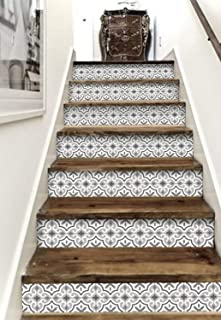 Sticker Tile Stickers Stair Riser Strips Steps Removable Peel & Stick Peel & Stick Vinyl Adhesive Tiles(Set 12 Units)