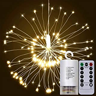 Alitoo String Fairy Lights, 120 LED Firework Twinkle Lights Battery Operated Hanging Starburst Decorative Light, Waterproof Copper Wire Lights with Remote Control for Outdoor Home Patio(Warm White)