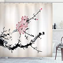Ambesonne Japanese Shower Curtain, Watercolors Illustration Traditional Native Blossoming Floral Temperate Zone Plant, Cloth Fabric Bathroom Decor Set with Hooks, 70 Long, Pink Black